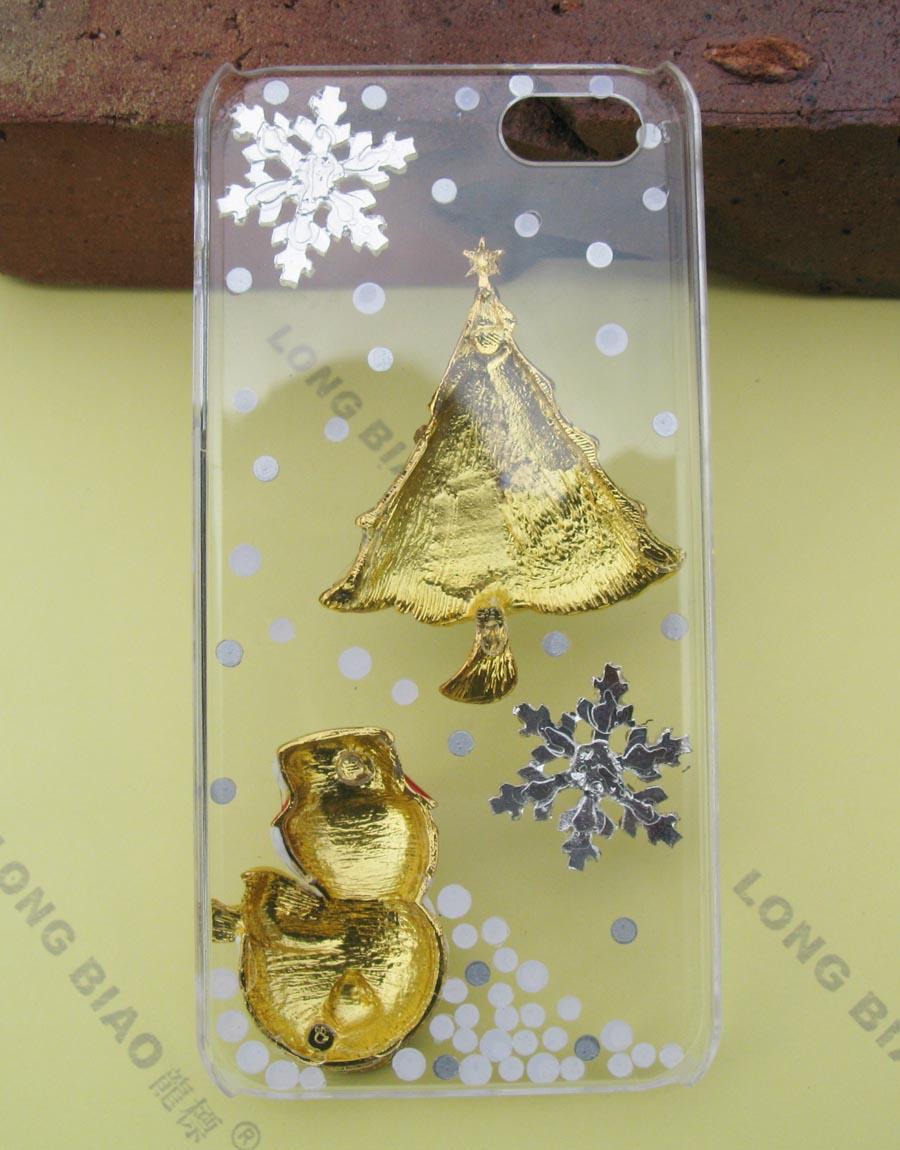 Handmade Christmas Bling Diamond Crystal Case Cover for iPhone 5 Xmas