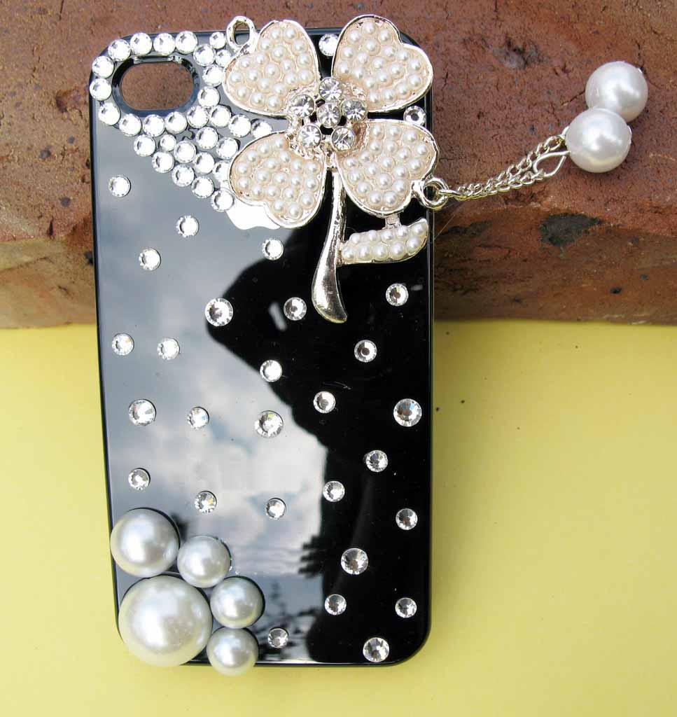 Handmade Beads Flower Bling Diamond Crystal Case Cover for iPhone 4 4G
