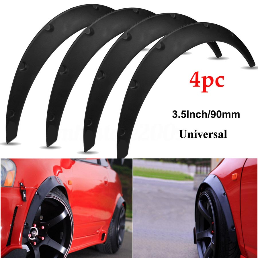 4pcs Universal Flexible Car Body Wheel Fender Flares Extra