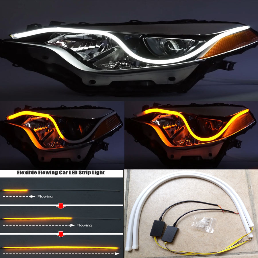 2x60cm car flexible drl led knight rider strip light. Black Bedroom Furniture Sets. Home Design Ideas